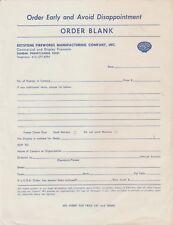 Keystone Fireworks Company Dunbar, Pa Unused Order Blank