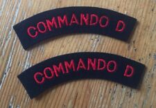 2 x Commando D Shoulder Titles - Pair - Repro WWII Patches BRITISH Army SAS Red