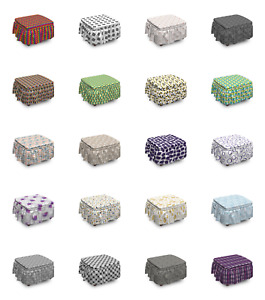 Ambesonne Geometric Items Ottoman Cover 2 Piece Slipcover Set and Ruffle Skirt