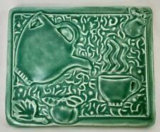 VINTAGE TYGE POTTERY GREEN RECTANGULAR TILE - TEA POT - COFFEE CUP - APPLE PEAR