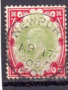 EDVII 1902 SG;257 1/- Dull Green/Carmine FULL NEWPORT CDS AP.17.06