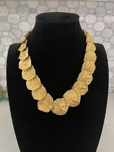 Vintage KJL Kenneth Jay Lane Gingko Leaf Lily Pad Gold Toned Necklace