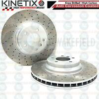 FOR BMW 335i E92 FRONT DRILLED KINETIX PERFORMANCE BRAKE DISCS PAIR 348mm COATED