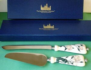 Goebel Smithsonian White Rose Cake Knife & Cake Server 2 PC. Set New