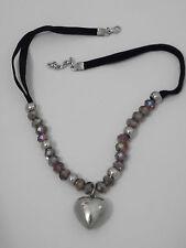 Heart Necklace Sparkling Beads & Velvet Chain Adjustable BN