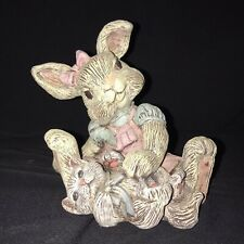 """Vintage Sarah's Attic Collectible Rabbit Bunny and Kitten Cat """"Cookie"""" Easter"""