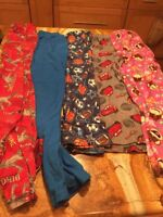 kids pajama Bottoms Lot Of 5 Varity Of Brands & Colors And Sizes