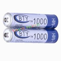 2x AAA 1000mAh 1.2V Ni-MH Rechargeable battery 3A BTY Cell for MP3 RC Toys