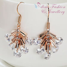 18K Rose Gold Plated Simulated Diamond Sparkling Cluster Dangle Earrings