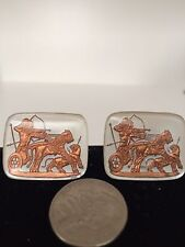 "Vintage Intaglio Glass Cameo Cufflinks. Ashurbanipal Hunting Lions"" -1950's"