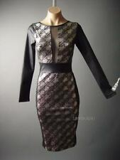 Metallic Houndstooth Black Faux Leather Evening Wiggle Pencil 57 ac Dress S/M