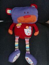Doudou peluche ours robot violet rouge orange FNAC EVEIL ET JEUX 38cm (3X)