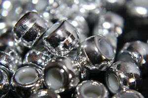 Gold Or Silver Metallic Pony Beads 9mm x 6mm Hole 4mm - Ideal For Dummy Clips