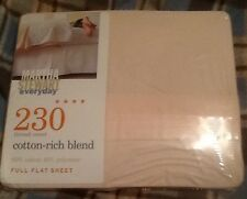 MARTHA STEWART EVERYDAY 230 THREAD COUNT FULL FLAT SHEET SHELL COLOR MADE IN USA