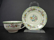 Coxon Belleek China Green Floral Teacup and Saucer F & R Lazarus