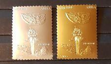 ABHAZIA SPACE 1994  APOLLO II 2 INDIVIDUAL GOLD &SILVER PERFORED  MNH