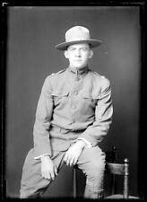 """c. 1910's American Military Army """"USR"""" Young Man GLASS PLATE NEGATIVE 5"""" x 7"""""""