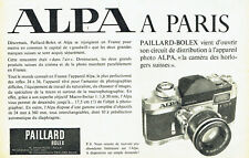 Publicité Advertising 108  1962    appareil photo  Paillard-Bolex  Alpa reflex