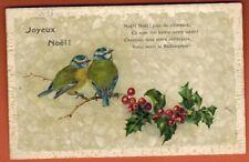 Carte Postale Plastifiée Gaufrée - Joyeux Noël -Houx-Oiseaux sur branche-(B.36)