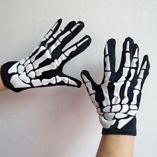 Halloween Cosplay Skeleton Bone Goth Gloves Full Finger Warm Gloves Black