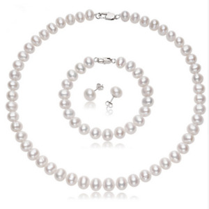 Quality 7mm White Freshwater Pearl Necklace, Bracelet, Earrings Womens Pearl Set