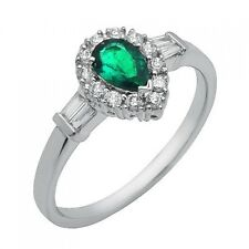 14K WHITE GOLD DIAMOND BAGUETTE & PEAR CUT GREEN HALO EMERALD ENGAGEMENT RING