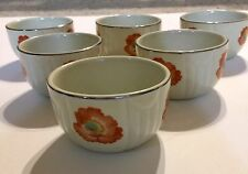 Vintage Hall Superior Quality Kitchenware Orange Poppy Radiance Custard Cup Bowl