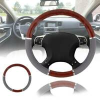 1X Wood Grain Steering Wheel Cover For Auto Car SUV Lux Grip Gray Syn Leather