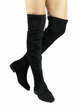 Cecey-5 Over the Knee Thigh High Almond Toe Snug Fit Zipper Flat Riding Boots