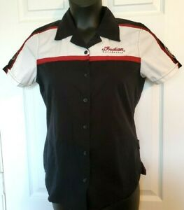 Indian Motorcycle Womens Size Small Black White Cotton Blend Shop Casual Shirt