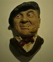 """Vtg Bossons Chalkware Head """"Bargee"""" Wall Hanging England 1988 -- 5 1/2"""" Tall."""