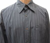 Faconnable Mens L Blue Striped Long-Sleeve Cotton Shirt Made in Turkey