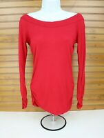 Arden B Long Sleeve Shirt Womens S Broad Neckline Ruched Pretty Red Pattern