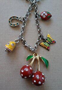 Large Charm Necklace with Cloisonne Enamel & Rhinestones Cherry Horseshoe More