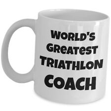 Worlds Greatest Triathlon Coach Coffee Mug Sport Trainer Tri Athlete Gift Cup Us