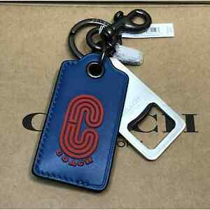 Coach Bottle Opener Key Fob in Colorblock with Coach Patch Miami red / Jay Blue