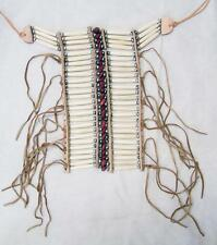 MED NATIVE INDIAN STYLE RED STONE BONE BREAST CHEST PLATE new  beads LEATHER