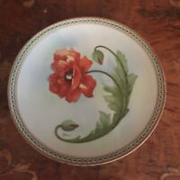 Antique J.S.V. Germany Cabinet Plate Red Poppy Flower Pattern Artist Signed