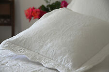 Square Off-White Stitch Embroidered Cushion Cover with Ties