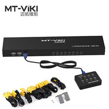 MT-VIKI 8 Port KVM Switch Manual Key Press VGA USB w/ Wired Remote Switcher