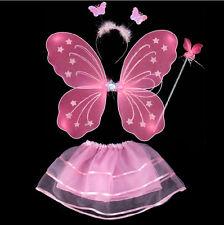 Girls Fairy Butterfly Wings Wand Fancy Dress Dance Party Costume Accessory Set