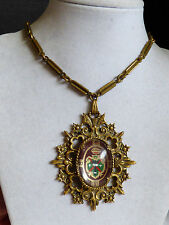 """VTG brass color metal chain necklace code of arms intricate pendant 18""""L"""