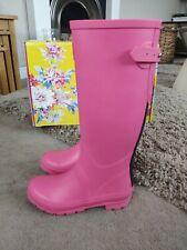 Women's Joules magenta pink field full length adjustable Wellie boots sz 4 EU 37