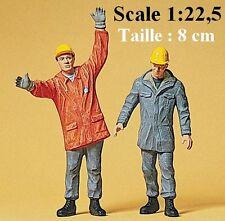 Set de 2 ouvriers casqué avec cirés - Preiser - Echelle 1/22,5 (LGB)