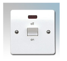 MK Electric K5105WHI Logic Plus White Moulded Double Pole Switch With Neon 32A