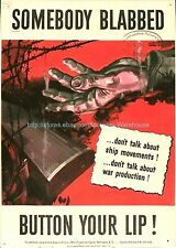 somebody blabbed button your lip WW2 propaganda paper poster baby wall posters