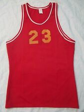 Vintage 70s NOS Men's Basketball Jersey Gym Tank Top #23 sportswear red yellow