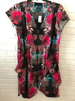 New City Chic Woman's Mirrored Palm Tunic Dress Plus Size 16  Multi-Color  X11