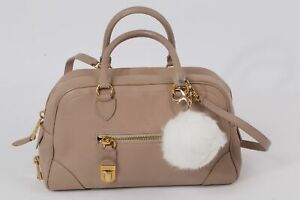 MARC JACOBS Beige Leather with White Pompom Tote Shoulder Bag