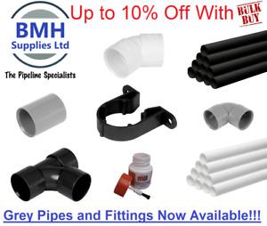 32/40/50MM PVC-U Solvent Weld Waste Pipe 1M & Fittings Black, White & Grey Bulk!